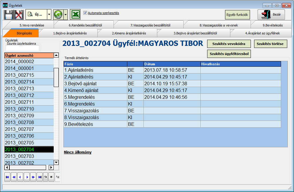 Kereskedelmi rendszer szoftver: Ügyletek