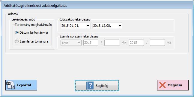 Számlázó program: új számla készítéseAdóhatósági ellenőrzési adatszolgáltatás