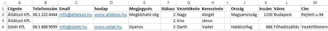 Crm Rendszer program : Importálás Excel formátumból