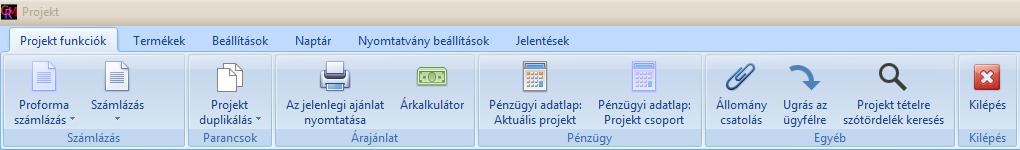 Projektmenedzsment szoftver főmenüje