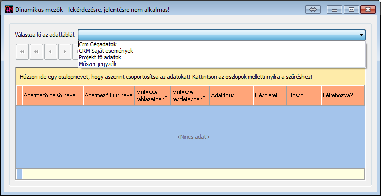Felhasználó által létrehozott adatmezők
