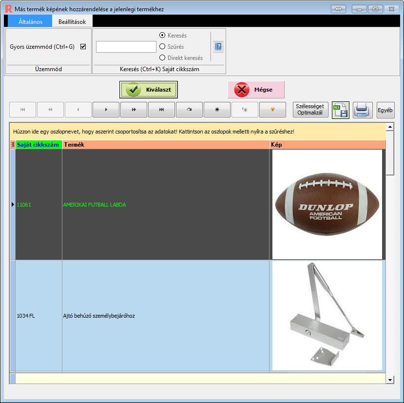 Ügyviteli rendszer: Termék képek hozzárendelése ablak