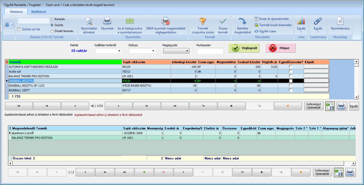 Ügyviteli rendszer: ügyfél rendelés / foglalás