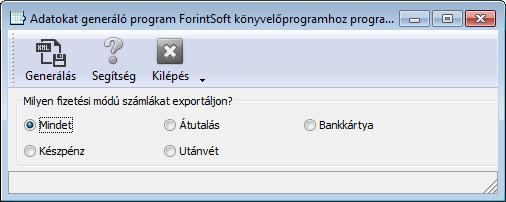 Ügyviteli szoftver: Forintsoft export
