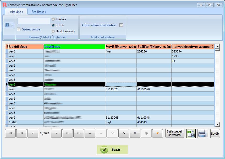 Ügyviteli szoftver: Forintsoft export beállítások