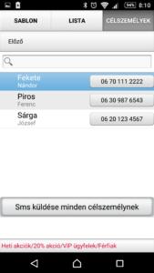 SMS küldő program - SMS küldő ablak