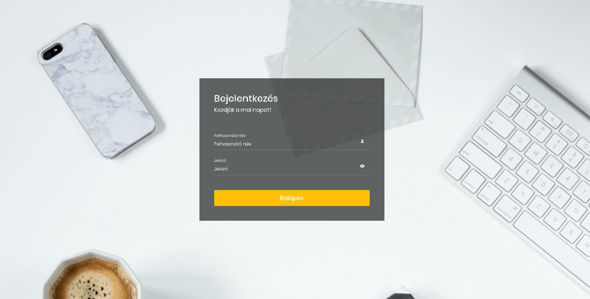 GDPR szoftver - bejelentkezési képernyő
