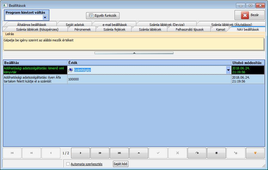 NAV Online adatszolgáltatás, számla beállítások