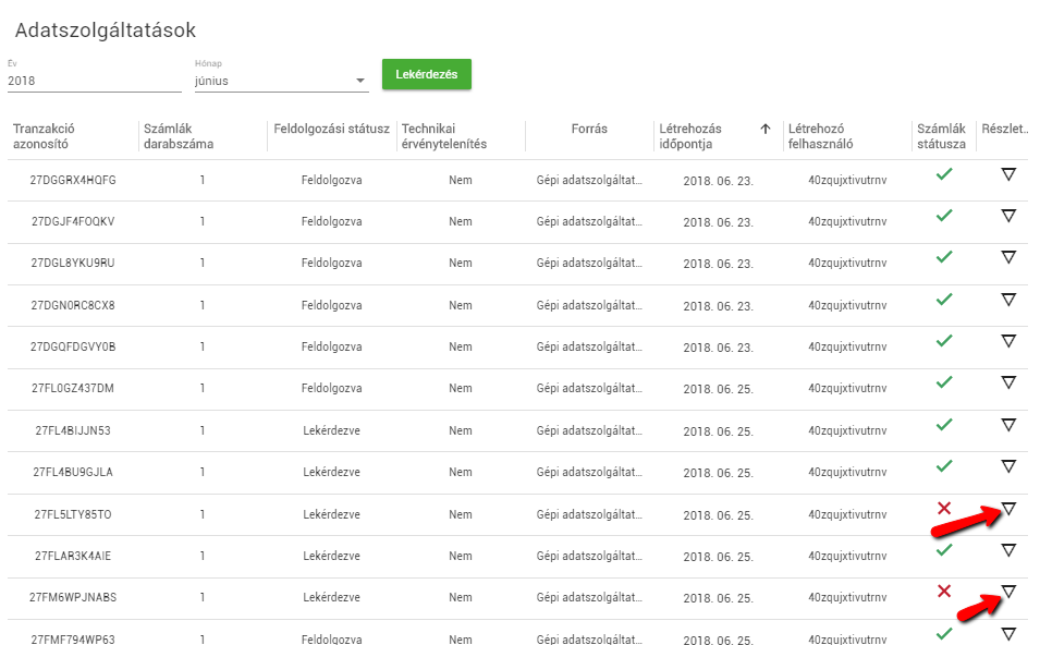 NAV Online adatszolgáltatás, feltöltött számlák
