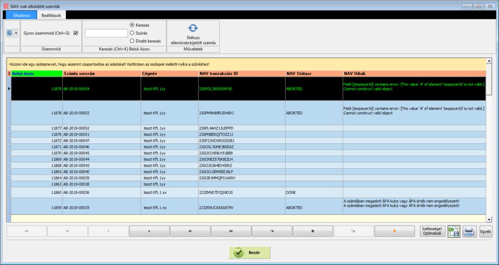 Nav Online Számla beküldés 1.1 verzió : Navnak elküldött számlák képe
