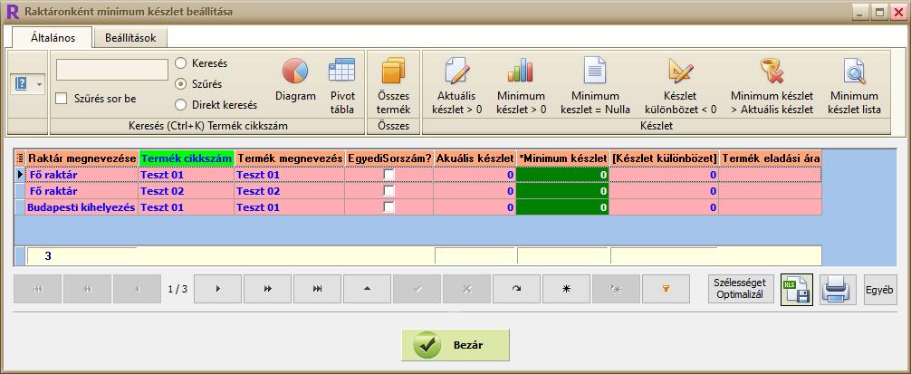 Ügyviteli rendszer: termék minimum készlet állítás több raktáras szoftver esetén